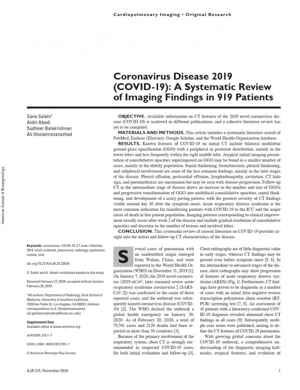 Coronavirus Disease 2019 Covid 19 A Systematic Review Of Imaging Findings In 919 Patients